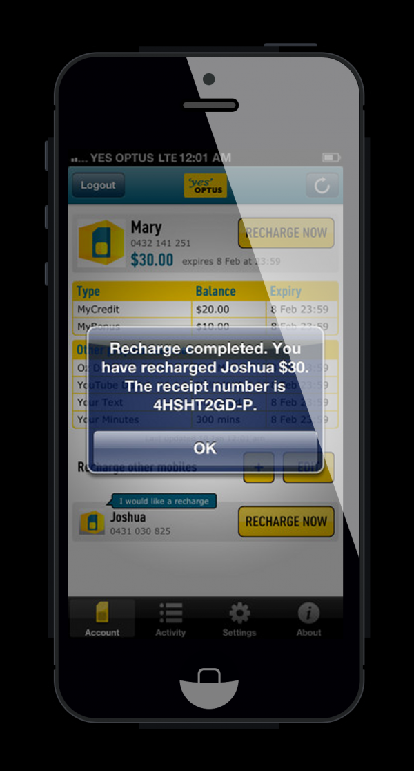 Optus Recharge Now App - Finalist - 2013 Mobile Awards