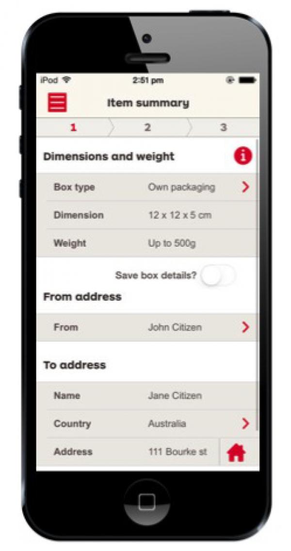 Australia Post ParcelSend application - Winner - 2014