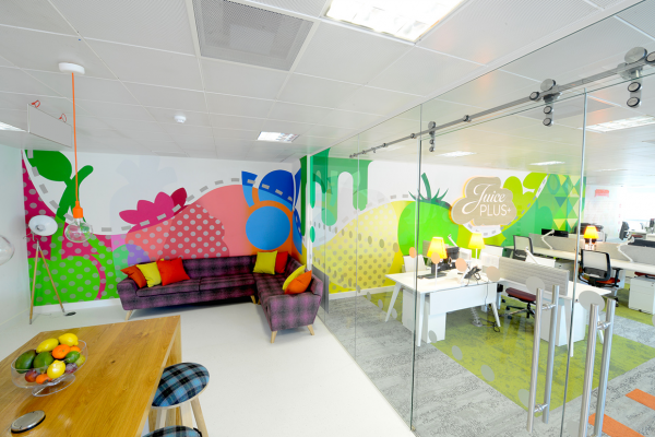 Graphic design office Modern Juice Plus Soulful Creative Graphic Design Environmental Hixsonlied College Of Fine And Performing Arts University Of Juice Plus Office Interior Gold Winner 2015 London Design Awards